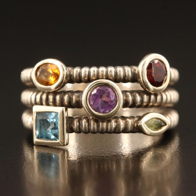 Sterling Silver Peridot, Topaz and Amethyst Ring with 14K Accents