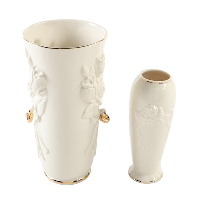 "Lenox Rosebud Collection Bud Vase and ""Rings and Roses"" Vase"