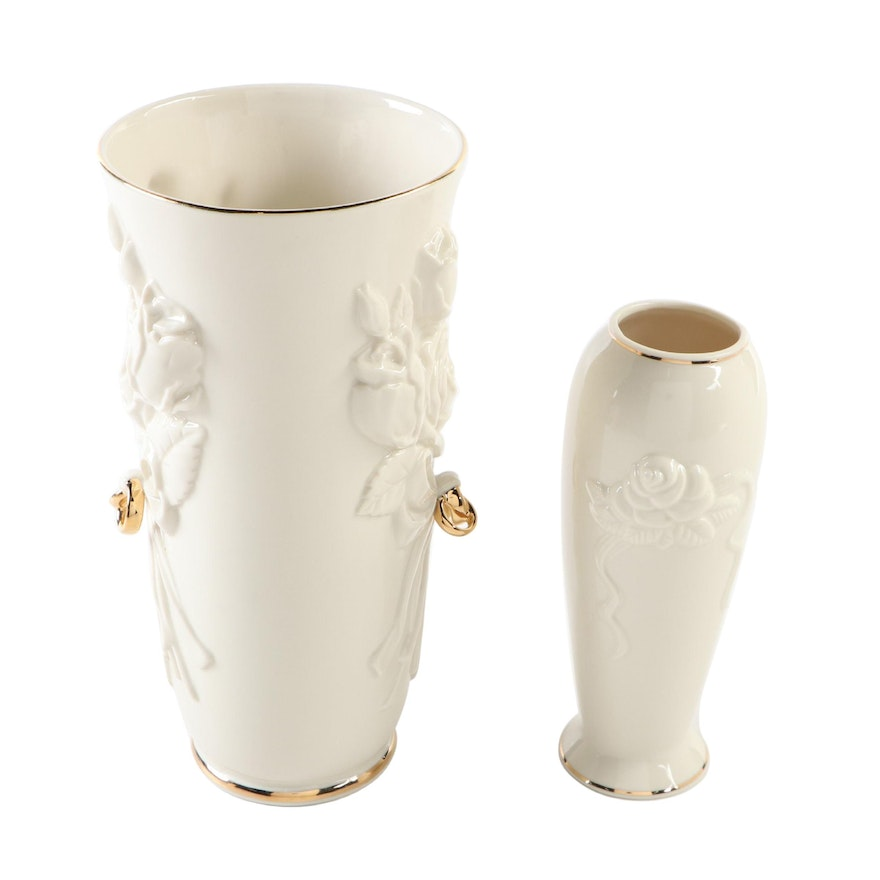 """Lenox Rosebud Collection Bud Vase and """"Rings and Roses"""" Vase"""