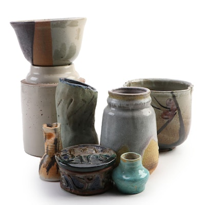 Collection of Hand Painted and Glazed Contemporary Art Pottery