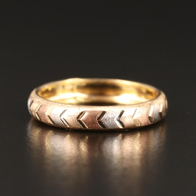 10K Tri-Colored Textured Band