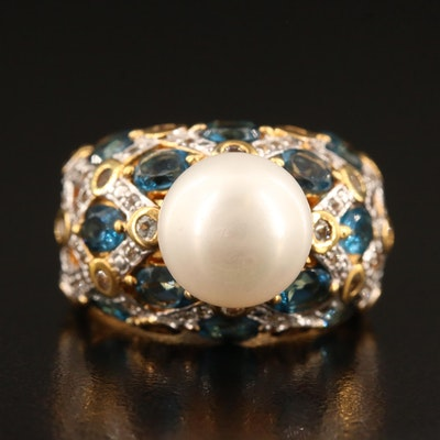Sterling Pearl and Topaz Ring