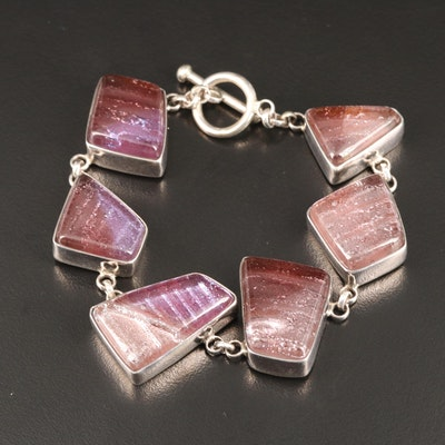 Sterling Silver Dichroic Glass Link Bracelet