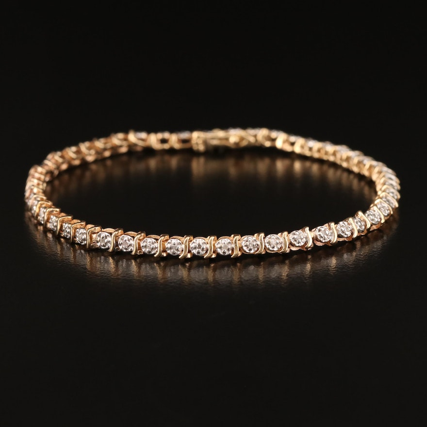 10K Illusion Set Diamond Line Bracelet