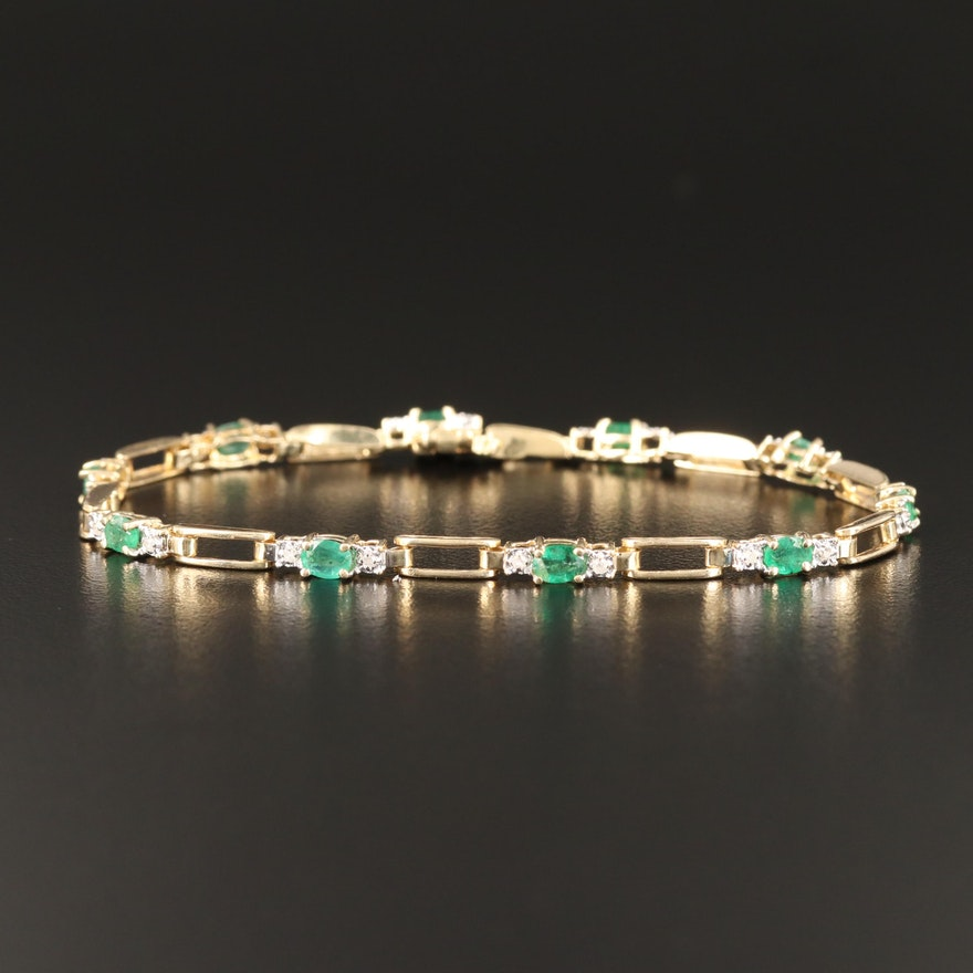 14K Emerald and Diamond Link Bracelet