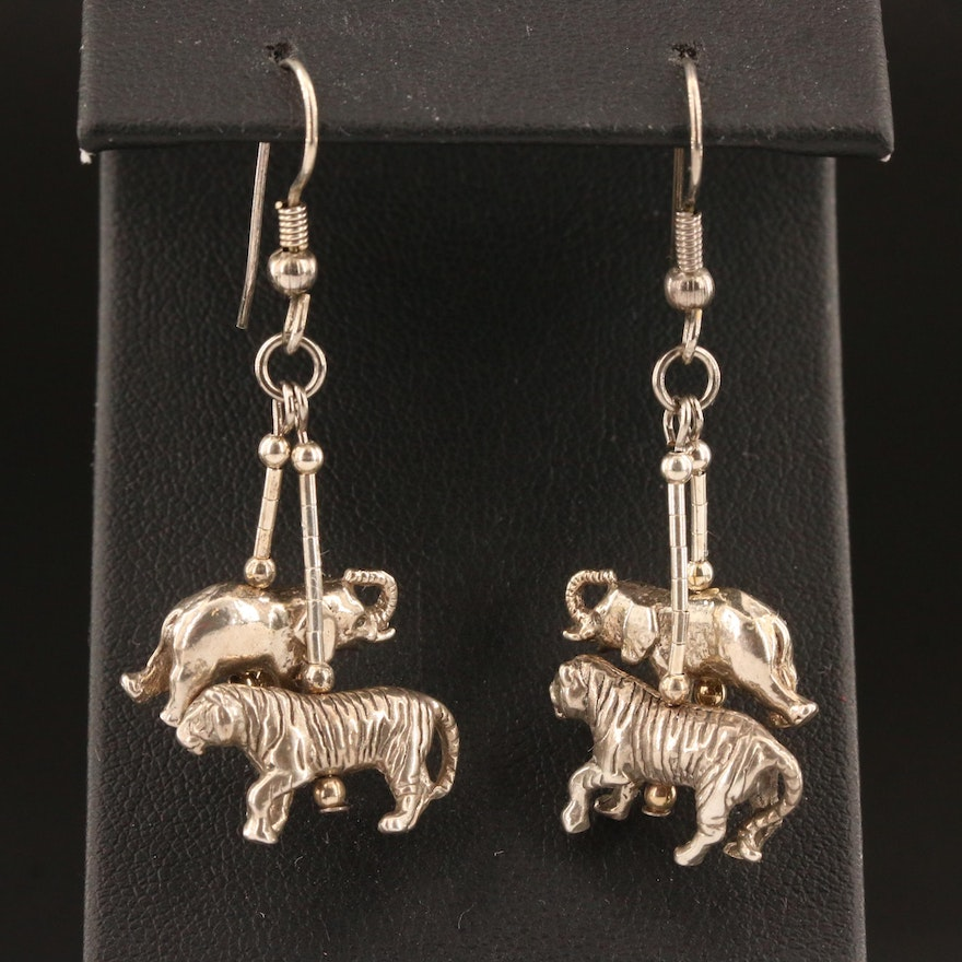 Sterling Silver Elephant and Tiger Dangle Earrings