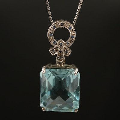 Sterling Silver Quartz and Glass Pendant Necklace