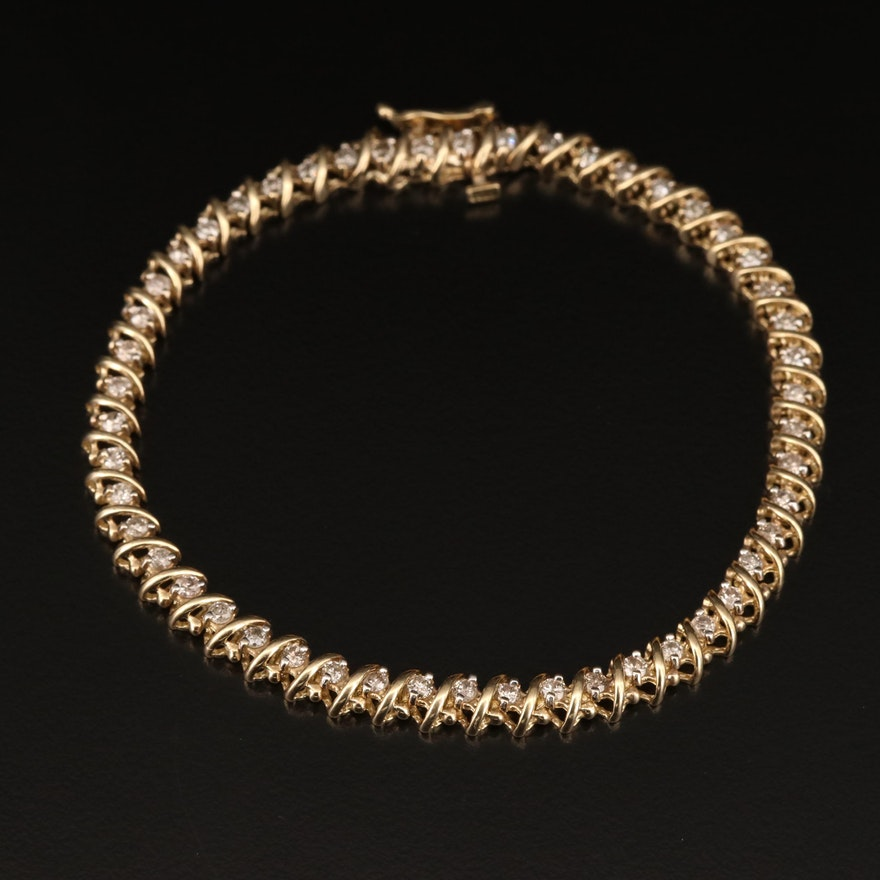 10K 1.50 CTW Diamond Line Bracelet