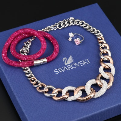 Swarovski Assortment Including Stardust Bracelet, Bound Necklace and Cherie Ring