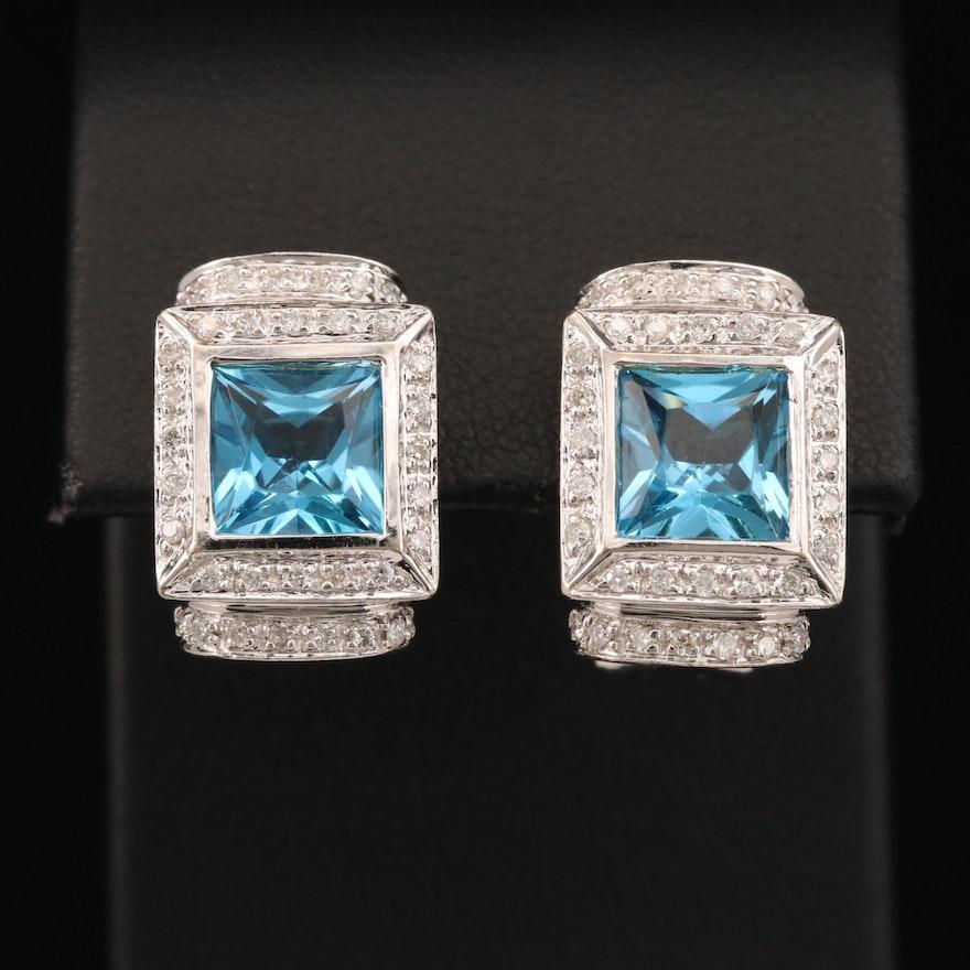 14K Topaz and Diamond Drop Earrings