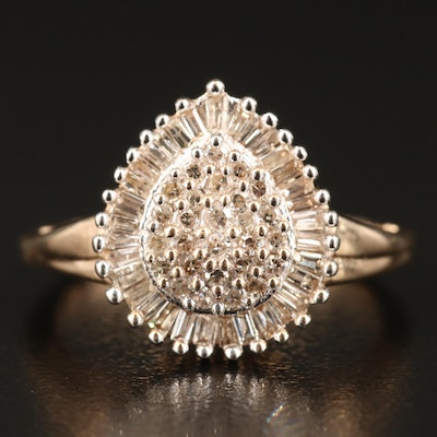10K Diamond Teardrop Cluster Ring