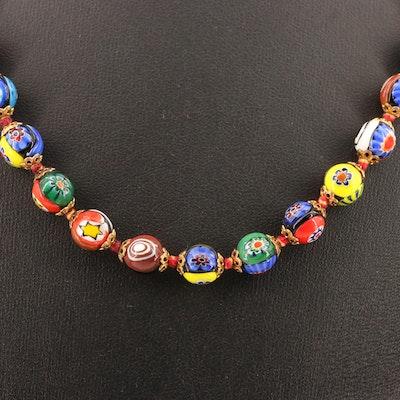 Millefiori Glass Strand Necklace