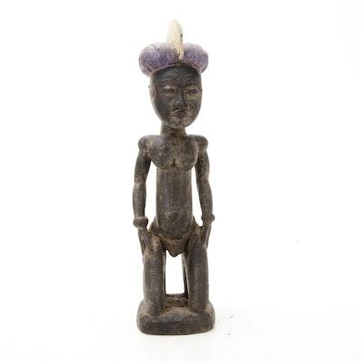 Yaure Inspired Wooden Kneeling Figure, Côte d'Ivoire