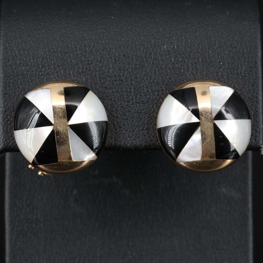 14K Button Earrings with Mother of Pearl and Black Onyx Inlay