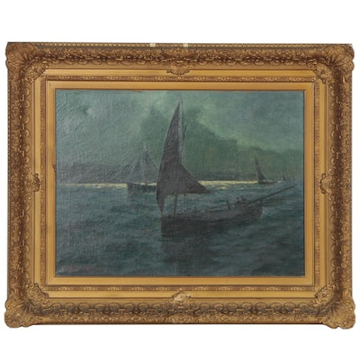 Lionel Walden Nautical Seascape Oil Painting with Sailboats, Early 20th Century