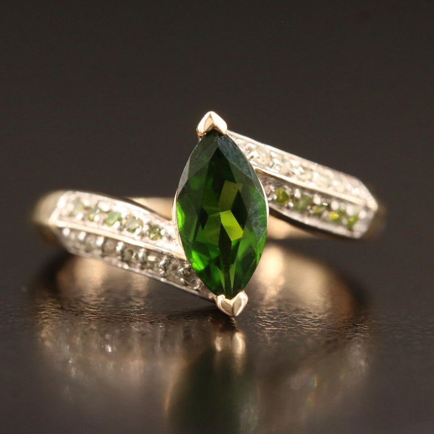 10K Diopside and Diamond Bypass Ring
