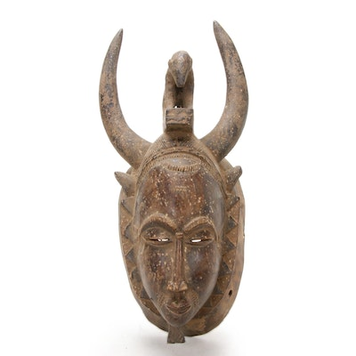 Baule-Yaure Style Wooden Mask with Animal Motif, Côte d'Ivoire