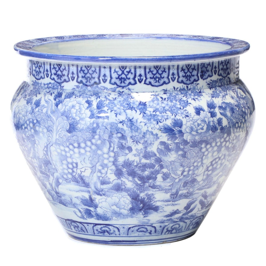 Chinese Blue and White Ceramic Fishbowl Planter, Late 20th Century