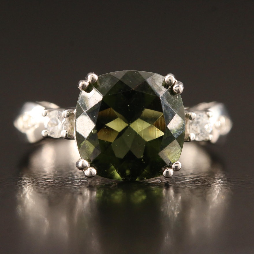 10K Moldavite, Topaz and Diamond Ring