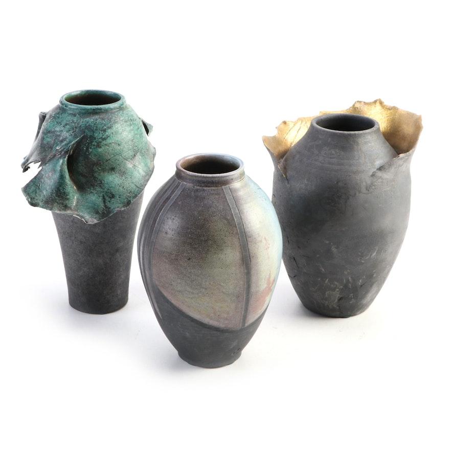"Raku-Fired Black Stoneware Art Pottery Vases Signed ""Redmer"""