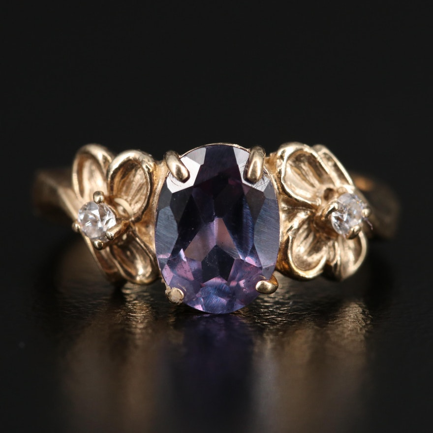 10K Color Change Sapphire and Cubic Zirconia Ring