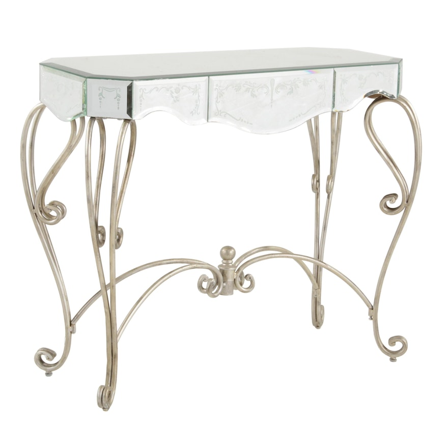 Mirrored and Silvered Metal Hall Table, Late 20th Century