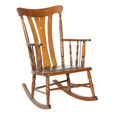 Quarter Sawn Oak and Leather Rocking Chair, Early 20th Century