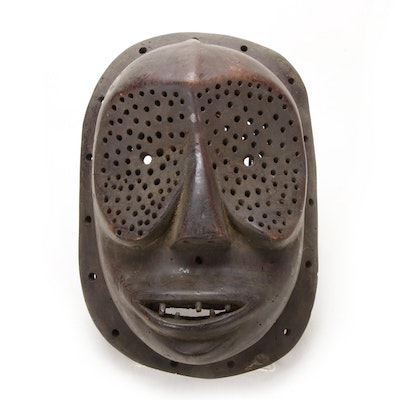 Lulua Style Carved Wood Mask, Central Africa
