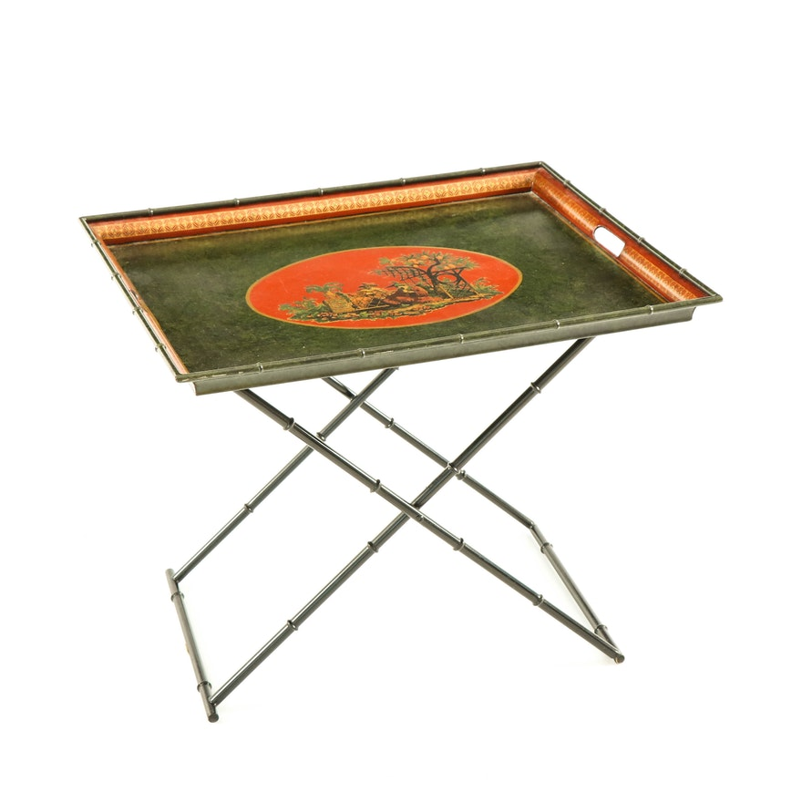 Faux Bamboo Polychromed Metal Tray Table, Mid to Late 20th Century