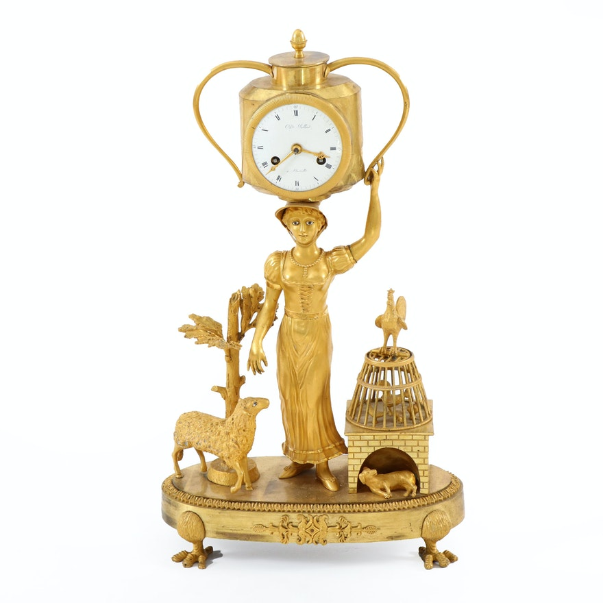 Charles Rolland Bronze Dore Figural Clock, Early to Mid 19th Century