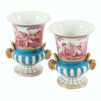 Sèvres Style Hand-Painted Porcelain Mantel Urns, Antique
