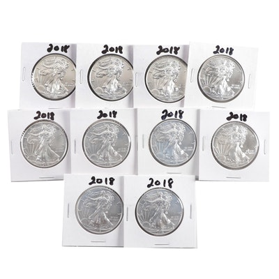 Ten 2018 American Silver Eagle Bullion Coins