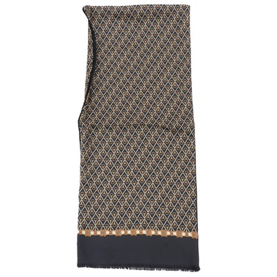 Paolo by Paolo Gucci Horsebit Latticework Silk and Wool Reversible Scarf