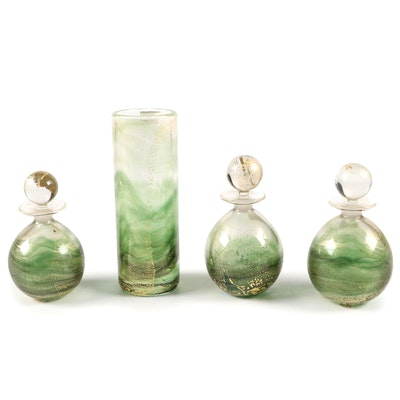 "Gozo ""Verdi"" Perfume Bottles and Vase"