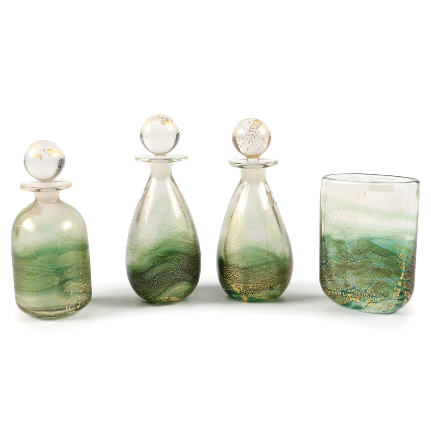 "Gozo ""Verdi"" Art Glass Perfume Bottles and Vase"