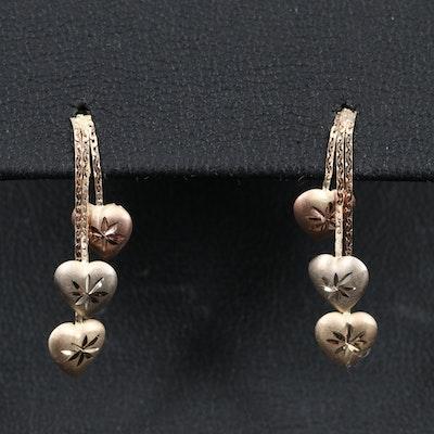 14K Tri-Color Heart Motif Dangle Earrings