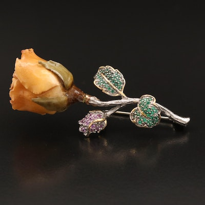 Sterling Rose, Sapphire and Cubic Zirconia Brooch