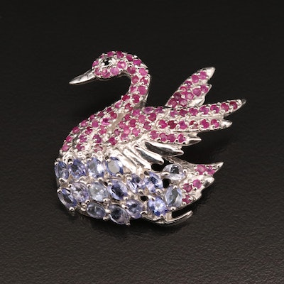 Sterling Swan Brooch with Tanzanite and Ruby