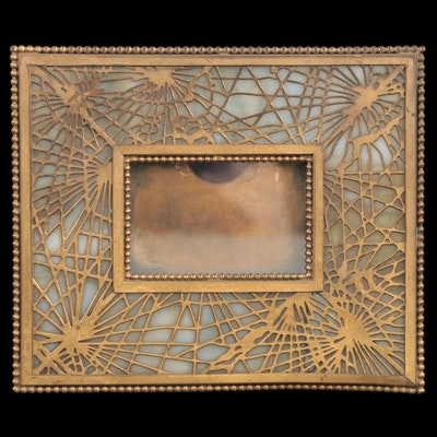 "Tiffany Studios Bronze and Glass ""Pine Needle"" Calendar Frame"