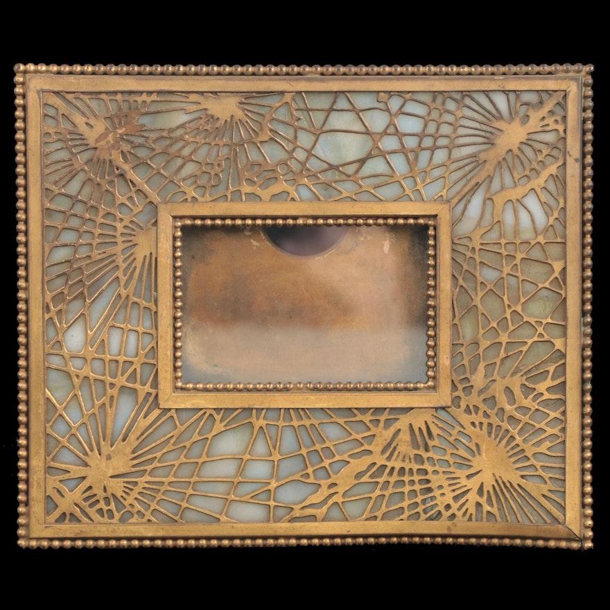 "Tiffany Studios Bronze and Glass ""Pine Needle"" Calendar Frame"