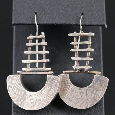Sterling Silver Mayan Style Dangle Earrings