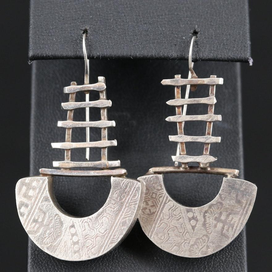 Sterling Silver Mayan Style Dangle Earrings