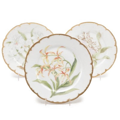 Jean Pouyat Limoges Hand-Painted Porcelain Plates, Late 19th/Early 20th C.