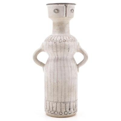 Frank Mann Figural Stoneware Vase