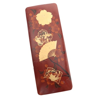 Japanese Gilt Decorated Lacquered Letter Box with Floral Motif