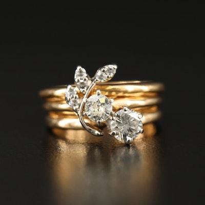 18K and 14K Diamond Foliate Ring