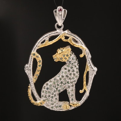 Sterling Silver Sapphire and Garnet Jaguar Motif Pendant