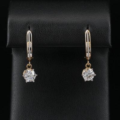 10K Cubic Zirconia Dangle Earrings