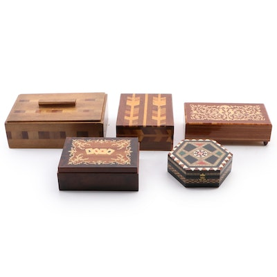 "Reuge ""Edelweiss"" Swiss Music Box and Inlay Keepsake Boxes, Mid-20th C."
