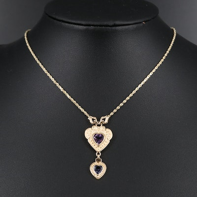 14K Amethyst and Tanzanite Double Heart Necklace